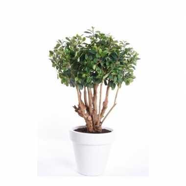 Kantoor kunstplant ficus groen in witte ronde pot 70 cm