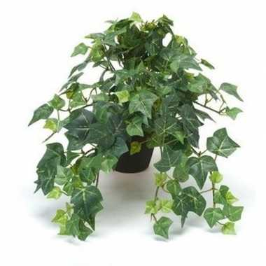 Kantoor kunstplant klimop groen in zwarte pot 30 cm