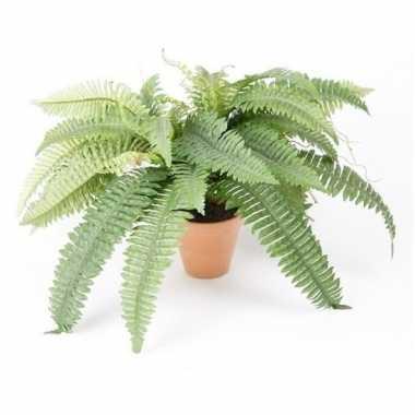 Kantoor kunstplant varen groen in terracotta pot 45 cm