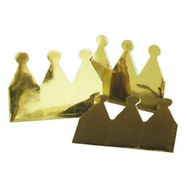 Kartonnen kroon goudkleurig 18x
