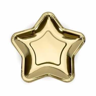Kartonnen sterren bordjes goud 18 cm