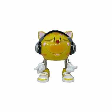 Kat met hoofdtelefoon spaarpot 16 cm