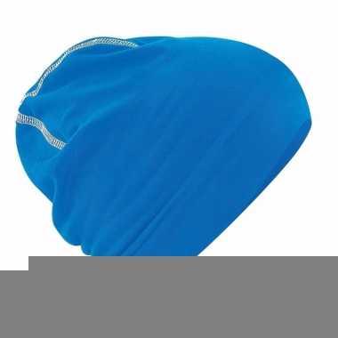 Katoenen muts blauw voor dames