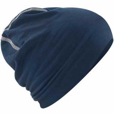 Katoenen muts navy blauw voor dames