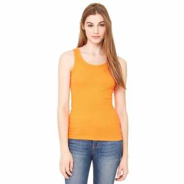 Katoenen rib topje oranje voor vrouwen
