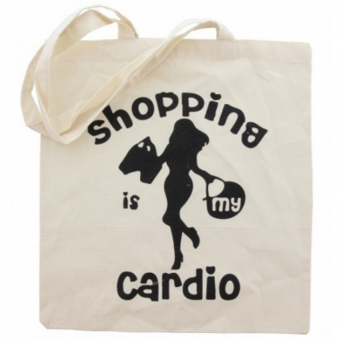 Katoenen tote bag cardio shopping