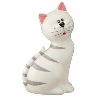 Katten liefhebbers spaarpot wit 23 cm