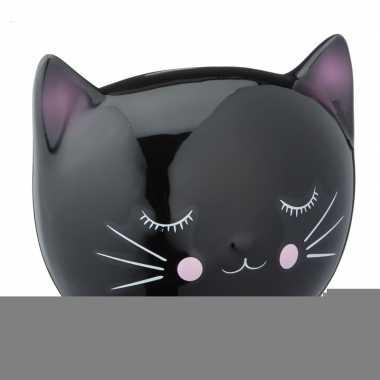 Katten liefhebbers spaarpot zwart15 cm
