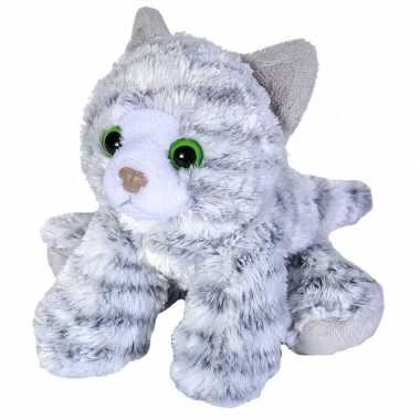 Katten speelgoed artikelen kat/poes knuffelbeest grijs 18 cm