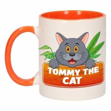 Katten theebeker oranje / wit tommy the cat 300 ml