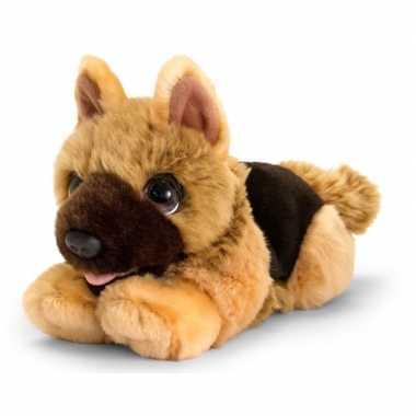 Keel toys pluche bruine herdershond honden knuffel 25 cm