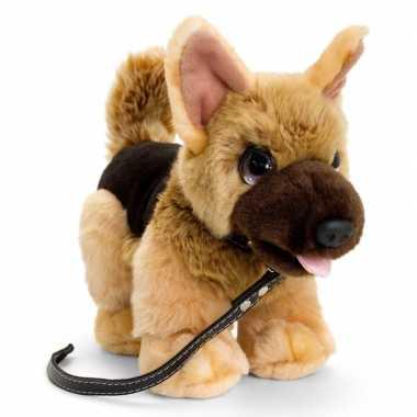 Keel toys pluche bruine herdershond met riem honden knuffel 30cm
