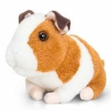 Keel toys pluche cavia knuffel bruin/wit met geluid 16 cm