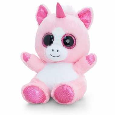 Keel toys pluche eenhoorn knuffel roze/wit 25 cm