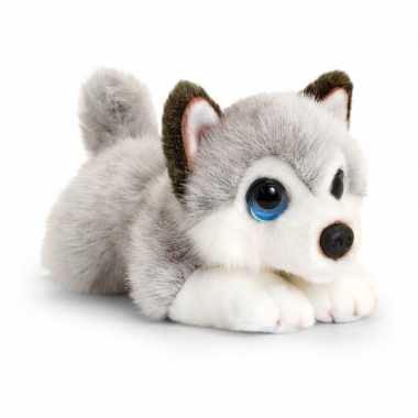 Keel toys pluche grijs/witte husky honden knuffel 25 cm