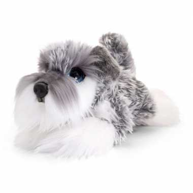 Keel toys pluche grijs/witte schnauzer honden knuffel 25 cm