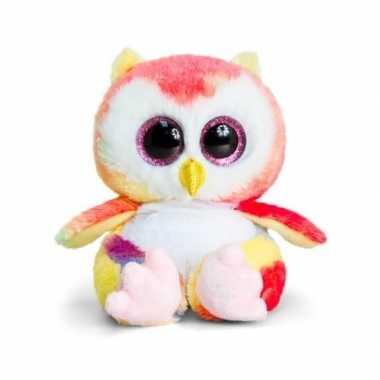 Keel toys pluche uil knuffel roze/geel/wit15 cm