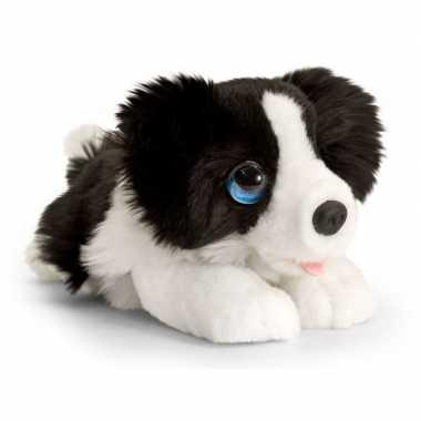 Keel toys pluche zwart/witte border collie honden knuffel 25 cm