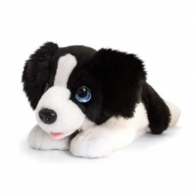 Keel toys pluche zwart/witte border collie honden knuffel 47 cm