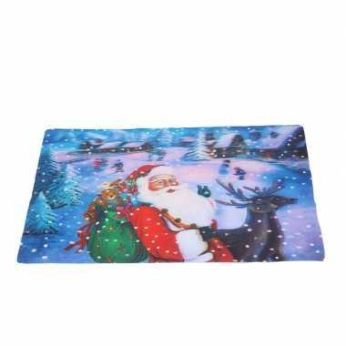 Kerst 3d placemat met kerstman en sneeuw 42 x 28 cm