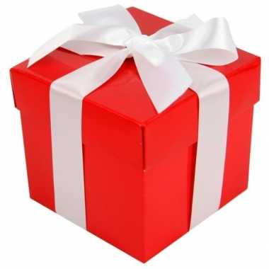 Kerst cadeautje rood met witte strik 10 cm