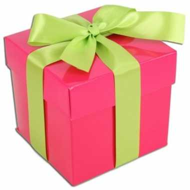 Kerst cadeautje roze met lichtgroene strik 10 cm