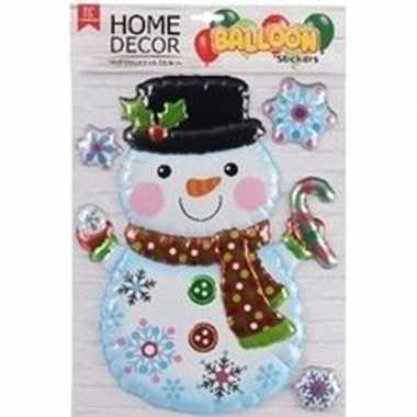 Kerst decoratie 3d raamstickers sneeuwpop 28 x 41 cm
