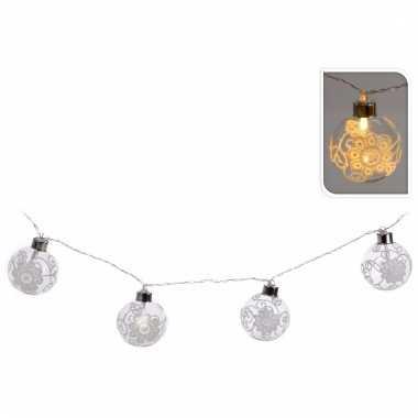 Kerst decoratie ballen slinger met led verlichting wit