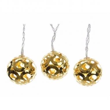 Kerst decoratie gouden bollen led snoer 180 cm