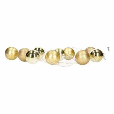 Kerst decoratie gouden kerstballen slinger met led licht 200 cm