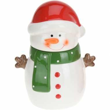 Kerst decoratie koekpot/snoeppot sneeuwpop 23 cm