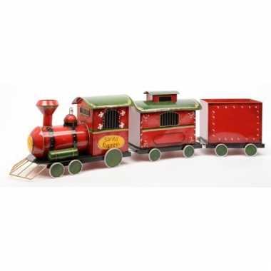 Kerst decoratie locomotief van ijzer 132 cm