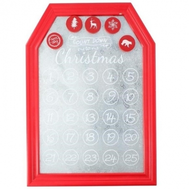 Kerst decoratie planbord / magneetbord rood 31 x 45 cm