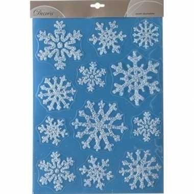 Kerst decoratie raamstickers glitter sneeuwvlokken 30 x 40 cm