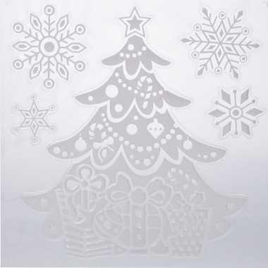 Kerst decoratie raamstickers kerstboom/sneeuwvlok 31 x 39 cm