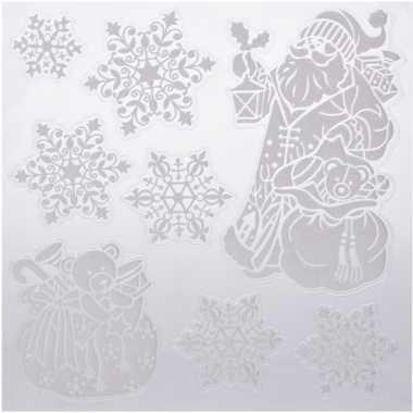 Kerst decoratie raamstickers kerstman/kado/sneeuwvlok 31 x 39 cm
