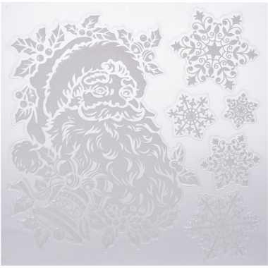 Kerst decoratie raamstickers kerstman/sneeuwvlok 31 x 39 cm