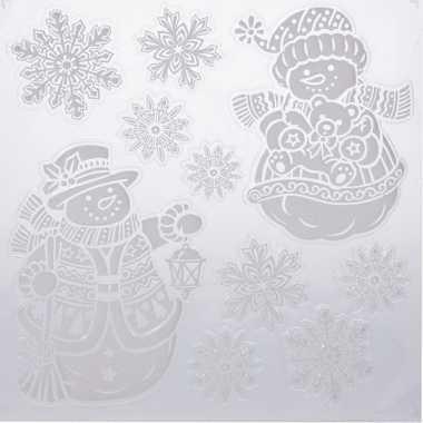 Kerst decoratie raamstickers sneeuwpoppen/sneeuwvlok 31 x 39 cm