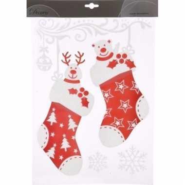 Kerst decoratie raamstickers sokken 2 stuks 40 cm type 2 trend