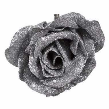 Kerst decoratie roos zilver/glitter 9 cm
