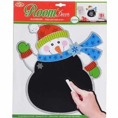 Kerst decoratie sneeuwpop krijtbord sticker 31 x 38 cm