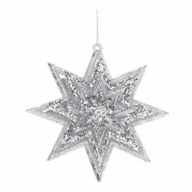 Kerst decoratie ster zilver 11 cm