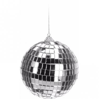 Kerst discobal zilver 10 cm