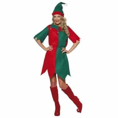 Kerst elf kostuum rood/groen voor dames
