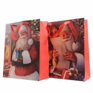 Kerst giftbag met kerstman opdruk 72 cm type 1
