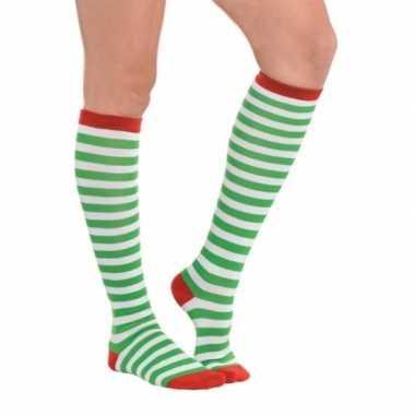 Kerst groene gestreepte kousen