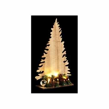 Kerst houten kerstboom naturel met licht 30cm
