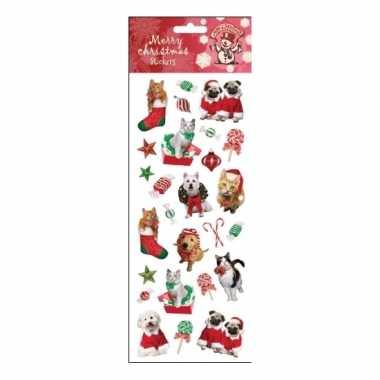 Kerst huisdieren stickervellen