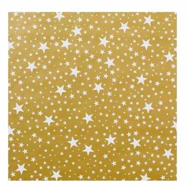 Kerst inpakpapier goud met witte sterren trend