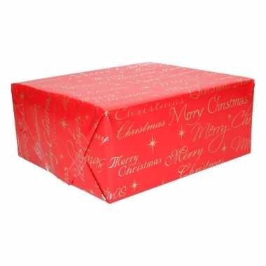 Kerst inpakpapier rood met merry christmas 200 x 70 cm op rol